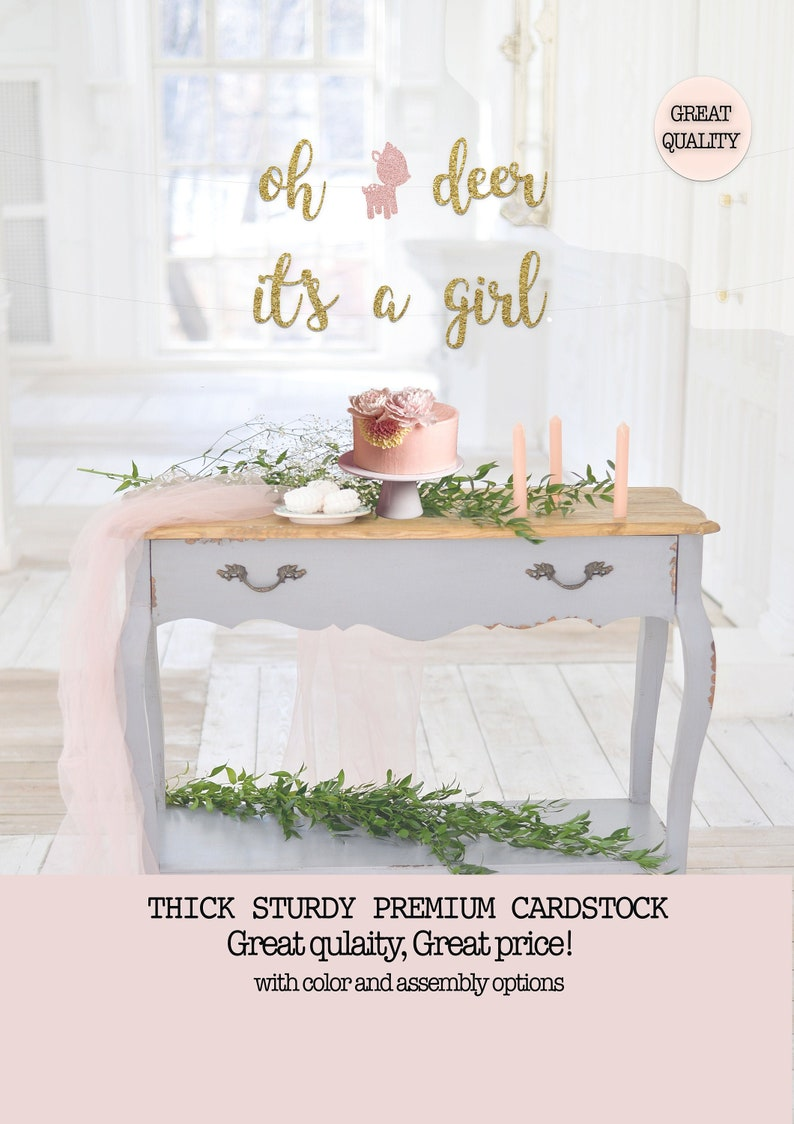 oh deer it/'s a girl banner; It/'s a Girl Woodland theme banner; Woodland baby shower; Forest animal baby shower; Baby Girl woodland theme