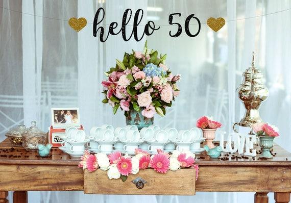 Hallo 50 Geburtstag Dekoration 50 Geburtstagsbanner 50 Etsy