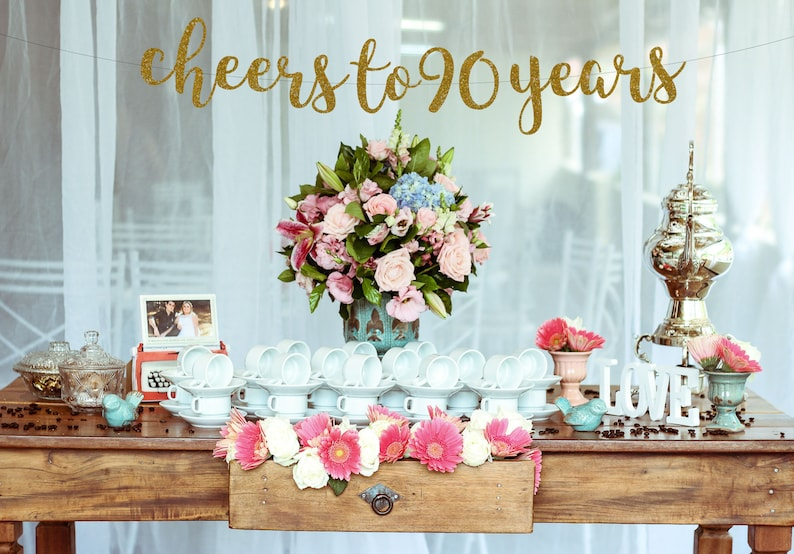 Cheers To 90 Years Banner90th Birthday Sign 90th Party90th Decor Party BannerGlitter Banner 30th Anniversary