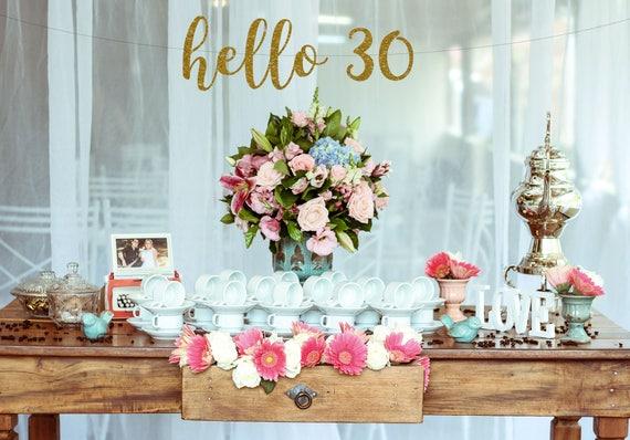 30th Birthday Decorations Hello 30 Banner