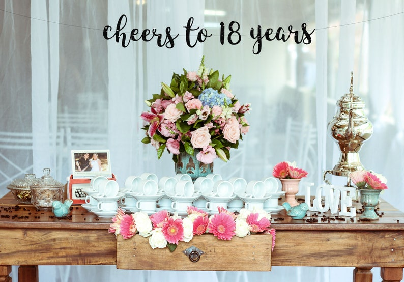 Cheers To 18 Years Banner 18th Party Decor18th Birthday