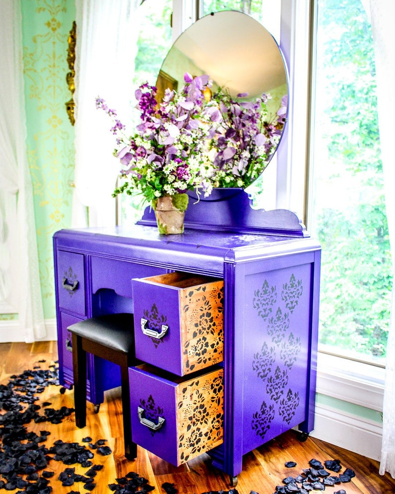 Black and purple vanity and makeup stand with mirror  Painted and stenciled furniture  Eclectic unique bohemian gothic medieval furniture
