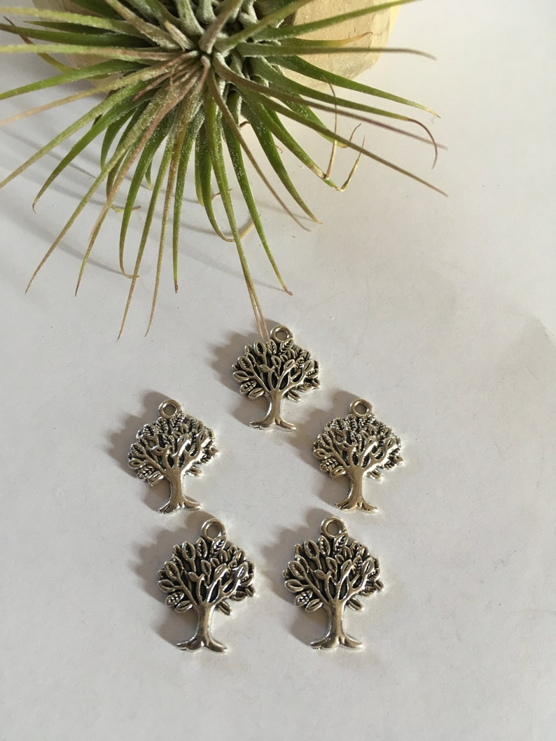 5pc Tibetan Style Tree of Life Antique Silver Alloy Charms