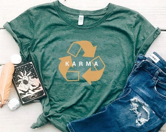 Karma Recycle Organic Cotton Women's Graphic Tee | Recycled Plastic Bottle Clothes | Eco Friendly T-shirt | Slim Fit Size Up