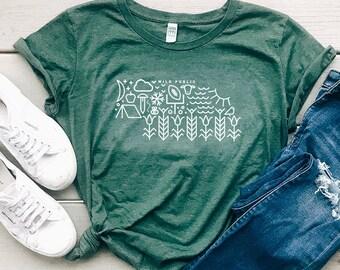 Nebraska State of Icons Organic Women's Graphic T-shirt | Slim Fit Size Up