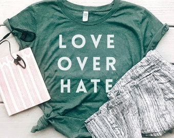 Love Over Hate Organic Cotton Women's Graphic Tee, Eco-Friendly Recycled Plastic Clothes | Slim Fit Size Up