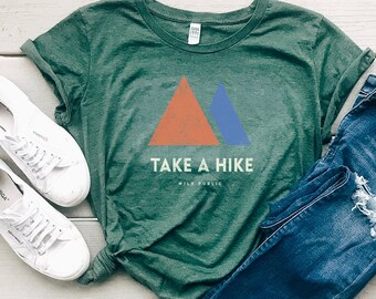 Take A Hike Organic Eco Friendly Organic Cotton Women's Graphic Tee, Christmas Gift for Her, Adventure Shirt, Hiking Tee | Slim Fit Size Up