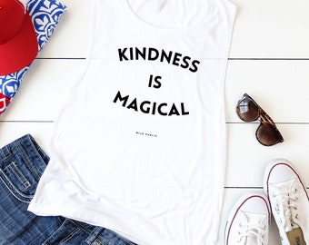 Kindness Is Magical Muscle Tank, Women's Tank Top, Bamboo Eco Friendly Organic Cotton Graphic Tee