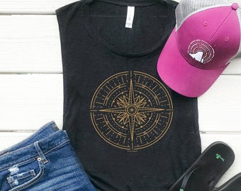 Gold Compass Women's Muscle Tank, Eco Friendly Graphic Tee, Workout Tank Top, Adventure Shirt, Nature Travel Tee, Shirts for Women