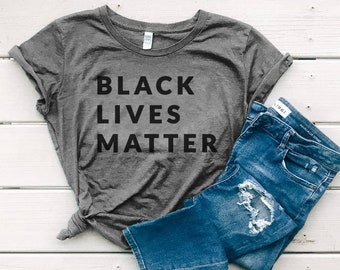Black Lives Matter Organic Cotton Womens Tshirts, BLM Graphic Tee, Civil Rights, Human Rights, T Shirts for Women   Slim Fit Size Up