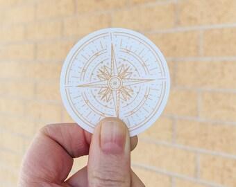 Gold Compass Clear Sticker, Vinyl Sticker, Lodestar Sticker, Laptop Sticker, Vinyl Decal, Nature Sticker, Adventure Sticker, Travel