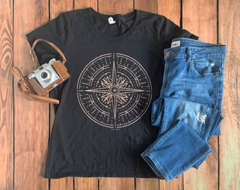Gold Compass Organic Cotton Women's Graphic T-shirt, Nature Travel Tee | Slim Fit Size Up