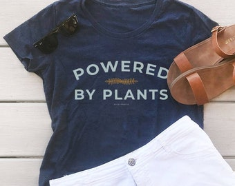 Powered By Plants Organic Cotton Eco Friendly Women's Graphic Tee   Recycle Plastic Bottles Shirt   Slim Fit Size Up