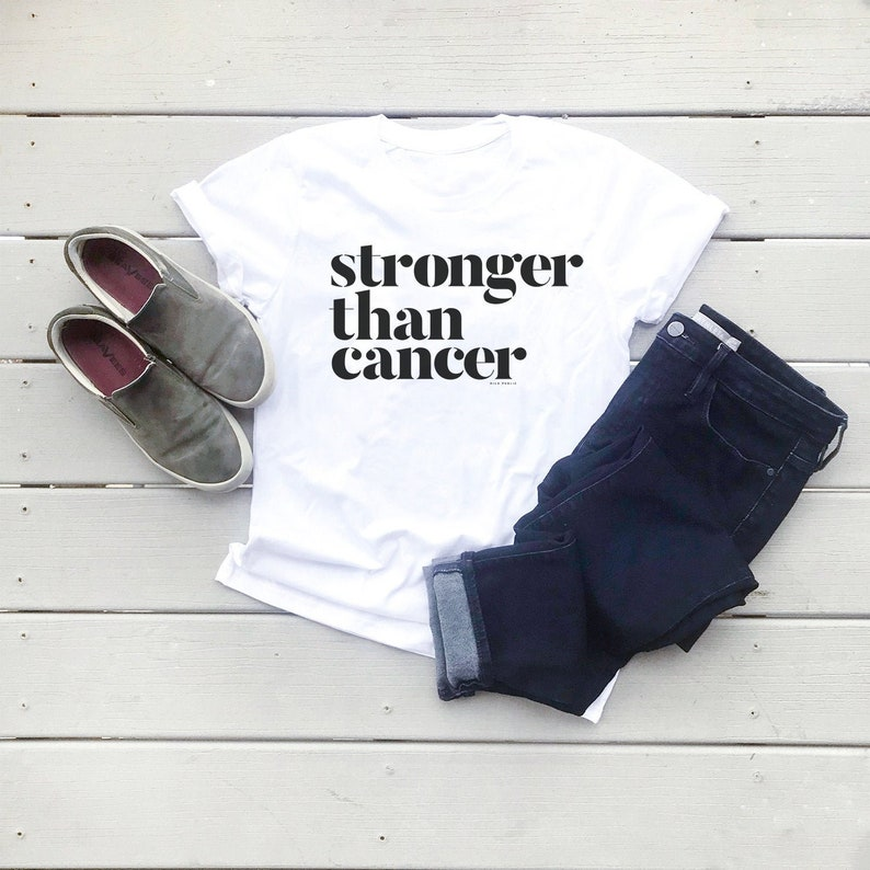 Stronger Than Cancer Graphic Tee Eco Friendly Organic Cotton image 0