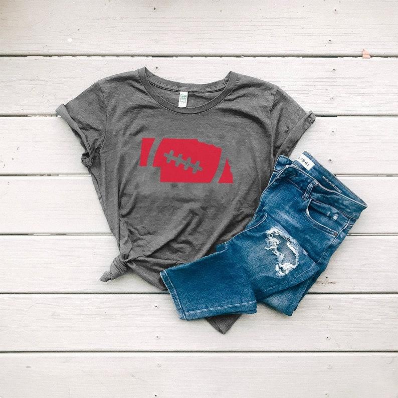 Nebraska Shirt Women's Organic Cotton Graphic Football image 0