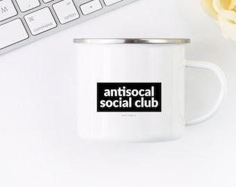 Antisocial Social Club Mug, 10oz Coffee Mug, Homebody Gift, Introvert Gift, Coffee Cup, Camping Mug, Metal Mug, Campfire Mug, Tea Mug, Gift