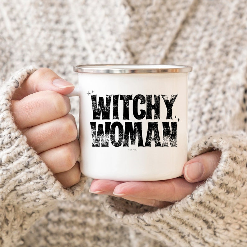 Witchy Woman Enamel Mug 10oz Coffee Mug Coffee Cup Camping image 0
