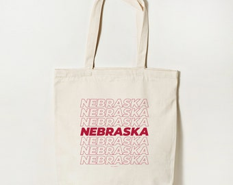 Nebraska Tote Bag, Organic Cotton Eco Friendly Canvas Tote, Reusable Bag, Shopping Bag, Beach Bag, Grocery Bag, Ethical Fashion