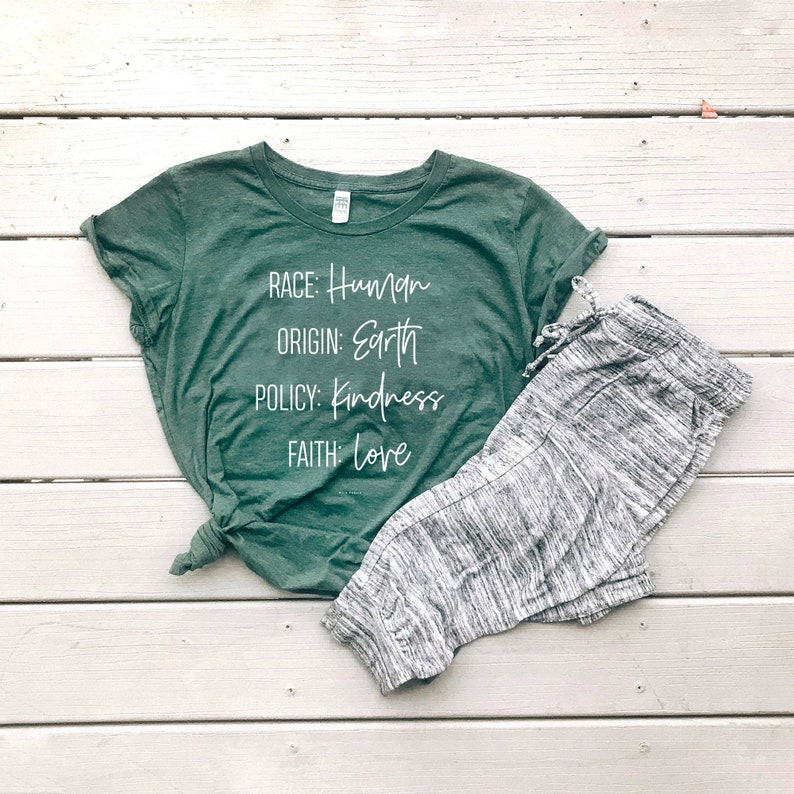 Birthplace Earth Women's Graphic Tee  Humanity Freedom Heather Pine