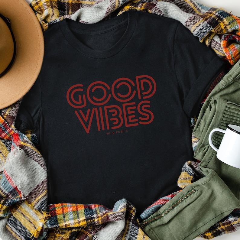 Good Vibes Organic Cotton Eco Friendly Graphic T-shirt Unisex Night
