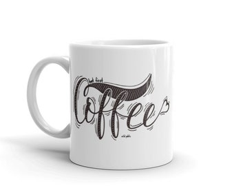 First Coffee Mug, Ceramic Mug, Coffee Cup, Christmas Gift for Coffee Lovers