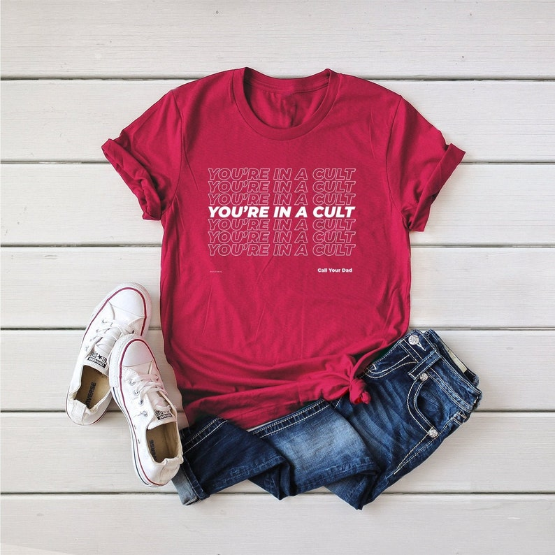 You're In A Cult Unisex Organic Cotton Graphic Tee  My Cherry Red