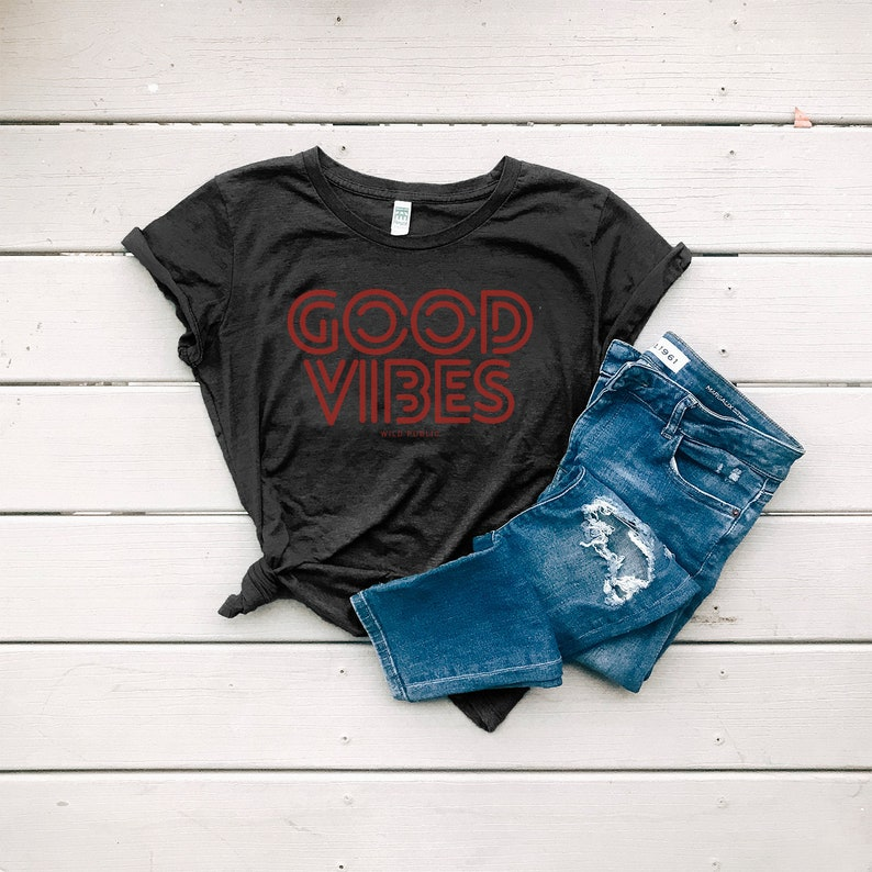 Good Vibes Women's Graphic Tee Eco Friendly Organic Shadow