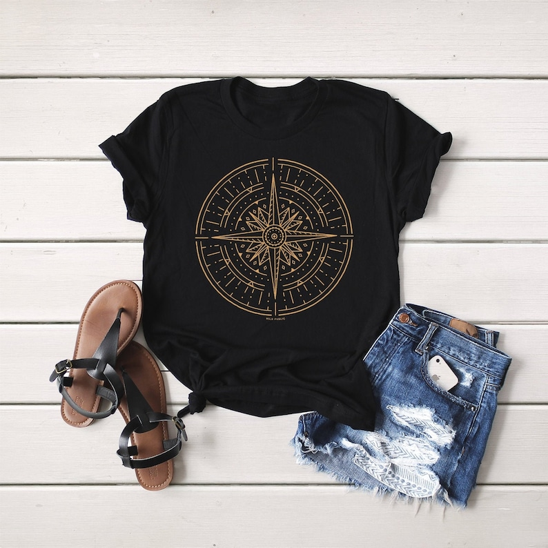 Gold Compass Organic Cotton Graphic Tee Unisex T-shirt image 0