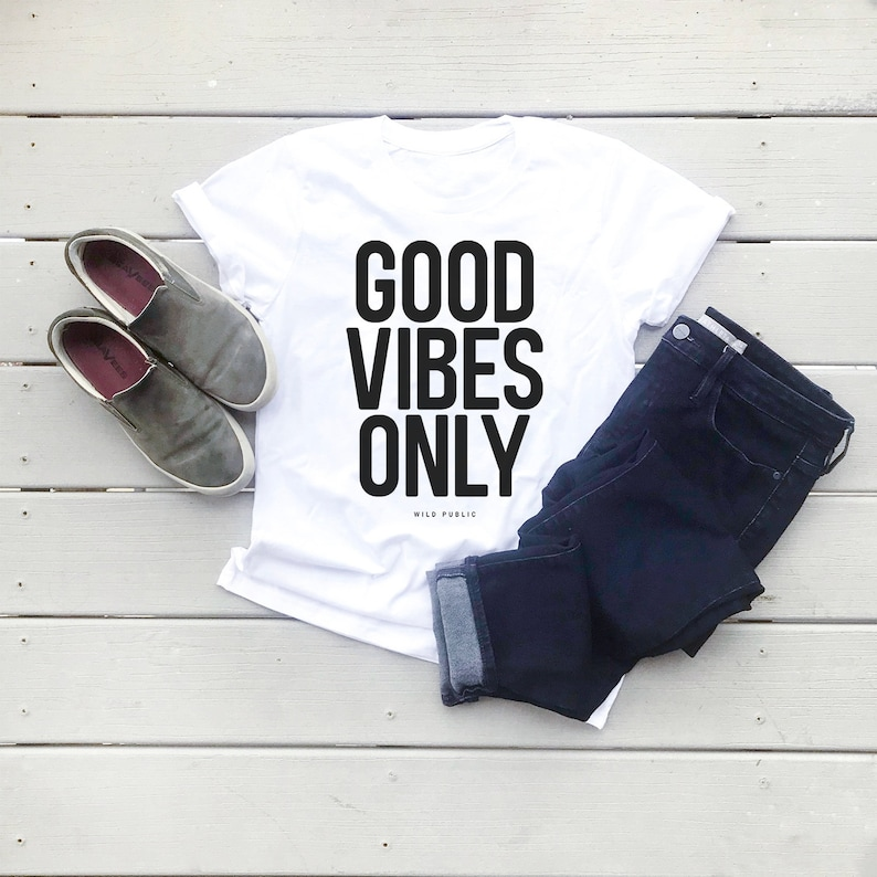 Good Vibes Only Organic Graphic Tee  Eco Friendly Unisex Salt