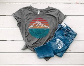 Sunrise Sunset Organic T-shirt, Women's Slim Cut Graphic Tee, Nature Travel Shirt | Slim Fit Size Up