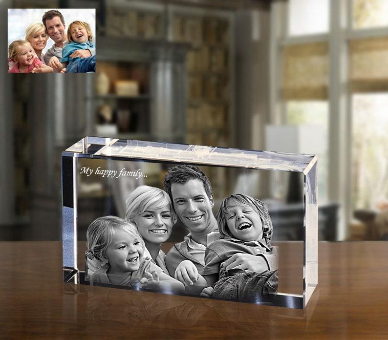 Personalised Photo Crystal Block Anniversary Wedding Memorial Family Present