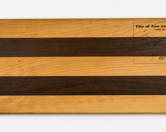 Wooden Serving Tray | Ann Arbor Map | Walnut and Cherry Hardwood | Cheese Board | Hors d'oeuvres Tray | Wood Tray | Made in America