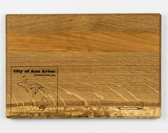 Wooden Serving Tray | Ann Arbor Map | White Oak and Cherry Hardwood | Cheese Board | Hors d'oeuvres Tray | Wood Tray | Made in America
