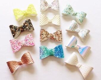 Glitter bow baby clip OR headband