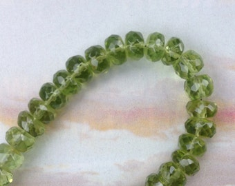 Six Bright Green 5mm Faceted Periodt Rondelles, August Birthstone Necklace, Peridot Beads,  Genuine Peridot, Loose Gemstones