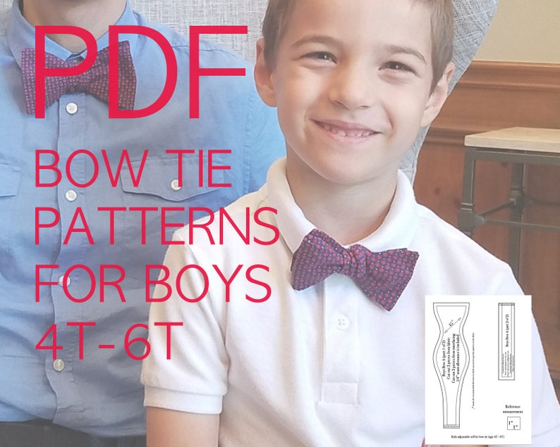 Boy bow tie PDF sewing pattern Digital bow tie tutorial diy image 0