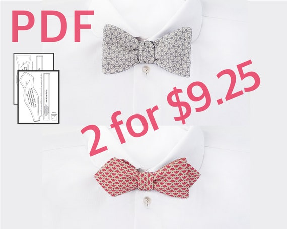 Diy Bowtie Pattern Self Tie Bow Tie Sewing Pattern And Etsy