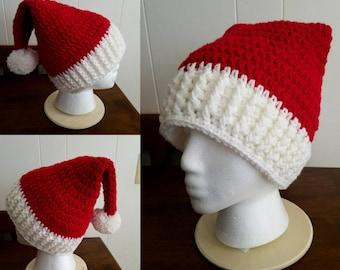 Handmade holiday hat, Santa hat, handmade Santa hat