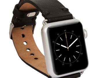Apple watch band, 42mm, 38mm, Leather watch band, Apple watch strap, iwatch band, Apple watch leather band, iwatch strap - Black