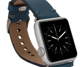 Apple watch band, 42mm, 38mm, Leather watch band, Apple watch strap, iwatch band, Apple watch leather band, iwatch strap - Blue