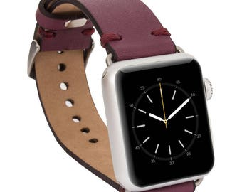 Apple watch band, 42mm, 38mm, Leather watch band, Apple watch strap, iwatch band, Apple watch leather band, iwatch strap - Purple