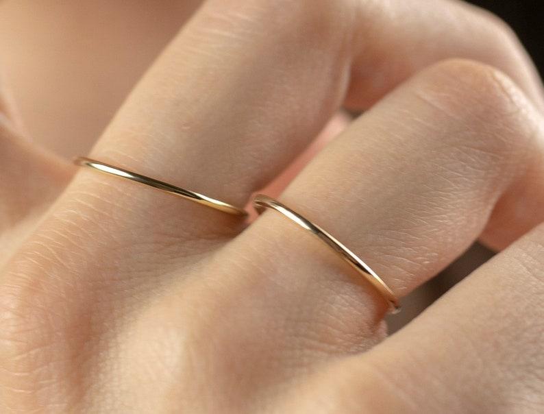 Used Wedding Rings.Wedding Band 1 2mm 14k Solid Gold Ring Gold Wedding Rings Also Used As Stacking Rings Thin Wedding Band