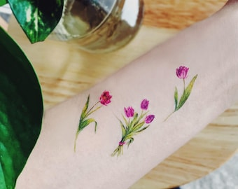 Mini Temporary Tattoos Flower Set Of 4 Flower Etsy