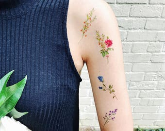 Temporary Tattoos Flower Set of 7, flower tattoos, rose,flower tattoo, pink, blue, red,yellow, handmade,floral temporary,body art,gift