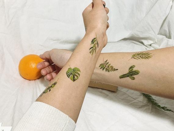 Temporary Tattoo Leaf Set Of 6 Plant Tattoos Cactus Fern Etsy