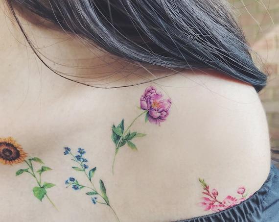 Flower Temporary Tattoos Set Of 7 Etsy