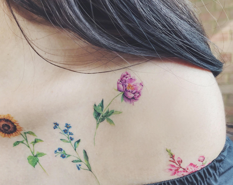 c68b270d080 Flower Temporary Tattoos Set of 7 flower tattoospeony   Etsy