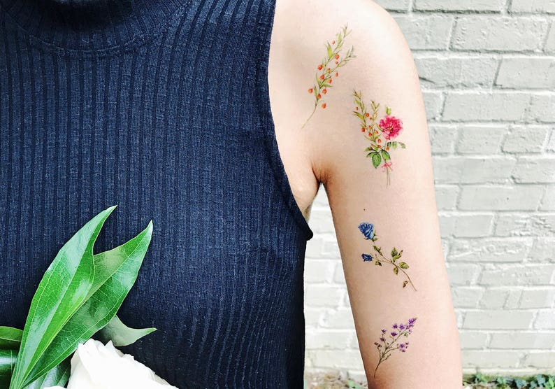 Temporary Tattoos Flower Set of 7 flower tattoos roseflower image 1
