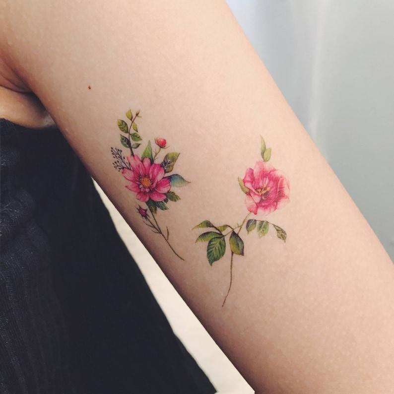 temporary tattoos flower set of 7 flower tattoos