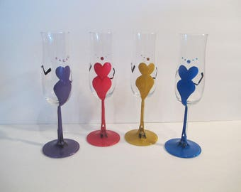 "Hand painted ""Gorgeous babes"" champagne glasses set 4"